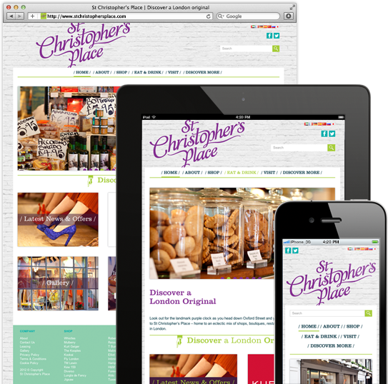 St Christophers Place  Boutique Shopping in London - Web Design